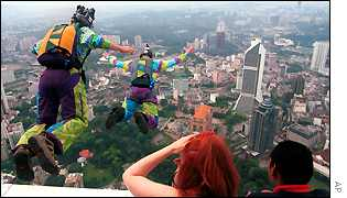 Base jumpers leap from broadcasting tower in KL