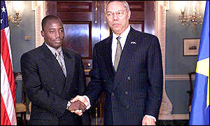 Joseph Kabila and Colin Powell