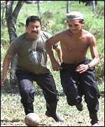 FARC rebels relax with a game of soccer