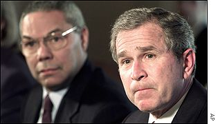 Secretary of State Colin Powell (left) and President George W Bush