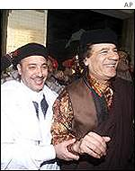 Colonel Gaddafi with Al Amin Khalifa Fhimah, who was recently acquitted of the Lockerbie bombing