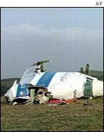 The wreckage of the Pan Am plane