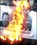 Burning election posters