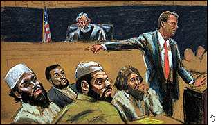 Artist's sketch of the trial