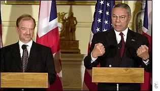 British Foreign Secretary Robin Cook and US Secretary of State Colin Powell