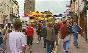 Brecon town during jazz festival