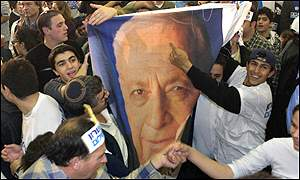 Likud party supporters cheer Ariel Sharon's election victory