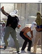 Palestinian protesters in East Jerusalem
