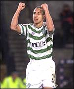 Henrik Larsson celebrates his spot kick