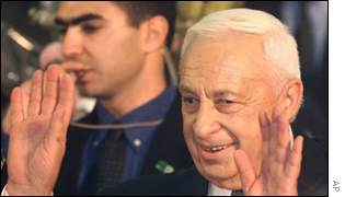 Ariel Sharon celebrating his victory