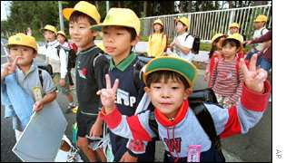 Japanese children leaving school