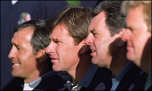 Europe's Seve Ballesteros, Nick Faldo, Bernard Gallacher and Colin Montgomerie