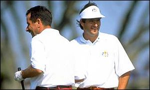 Sam Torrance and David Feherty laugh it up