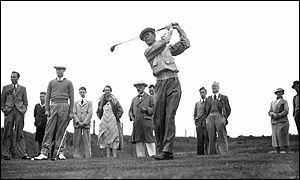 Byron Nelson tees off at Southport in 1937