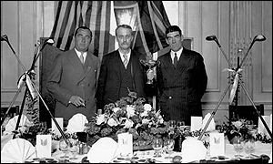 Founding father Samuel Ryder, flanked by Walter Hagen and George Duncan in 1929