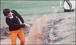 Tony Jacklin finds the sand at Muirfield in 1973