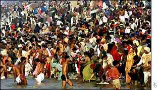 Crowd at the Kumbh Mela festival