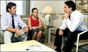 Tim Blackman, daughter Sophie and Tony Blair