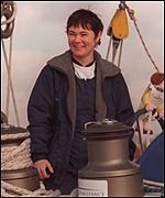 Tracy Edwards on board her boat
