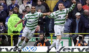 Didier Agathe congratulates goalscorer Alan Thompson