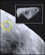The planned landing site and the entire asteroid (inset)
