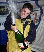 Ellen MacArthur cracks open the champagne