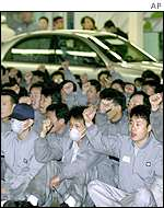 Auto workers stage protest at Korean plant