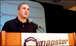 Napster founder Shawn Fanning makes a statement during a press conference