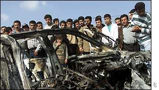 Wreckage of the car that Massoud Ayad was travelling in