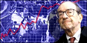 Alan Greenspan and background of New York trading floor