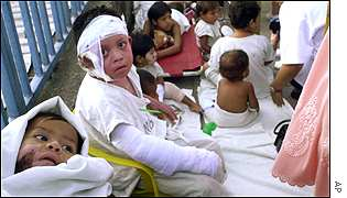 Patients at a children's hospital in Santa Tecla
