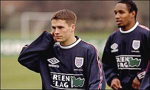 England stars Michael Owen and Paul Ince train at Bisham Abbey