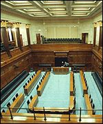 The chamber for the Northern Ireland Assembly at Belfast's Stormont Castle