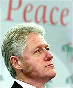 Bill Clinton on stage at the Odyssey Arena in Belfast