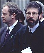 Gerry Adams and Martin McGuinness outside 10 Downing Street