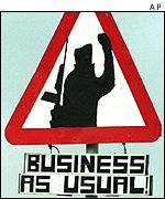 IRA 'business as usual' sign on main road outside Newry