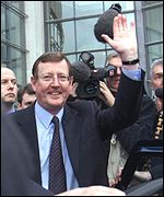 David Trimble leaves the Waterfront Hall after the UUP council votes to back the Mitchell Review