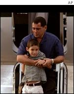 Cuban boy Elian Gonzales, 6, with his father