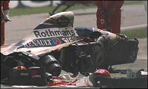 Ayrton Senna's wrecked Williams at the 1994 San Marino Grand Prix