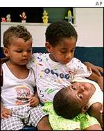 Children at a hospice in Rio de Janeiro where generic aids drugs are handed out for free.