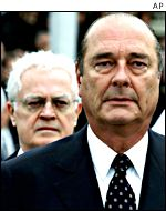 French President Jacques Chirac and Prime Minister Lionel Jospin (rear)