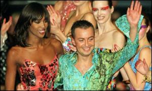 Julien Macdonald with Naomi Campbell at the London Fashion Show