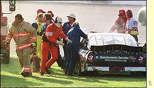 Dale Earnhardt's crashed Chevrolet at the Daytona 500