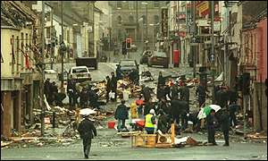 The aftermath of the Omagh bombing
