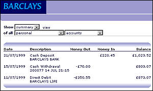 Barclays online banking screenshot (slightly altered for better view)