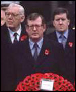 Ian Paisley with David Trimble at the Cenotaph