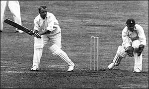Sir Donald Bradman in action during the Ashes against England