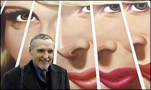 Dennis Hopper with his art