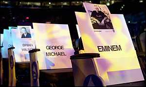Eminem's place at the Grammy Award rehearsal