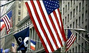 US flags on Wall Street